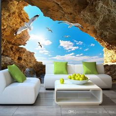 Wallpaper Blue Sky White Clouds Mural For Living Room Bedroom Ceiling Modern - Wallpaper World Wallpaper World, 3d Wallpaper Design, 3d Wallpaper For Walls, Ocean Wallpaper, Home Wallpaper, Designer Wallpaper, Bedroom Wallpaper, Wallpaper Wallpapers, Custom Wallpaper