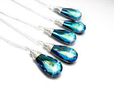 Set of 5 Peacock Wedding Necklaces, Bermuda Blue Swarovski Crystal, Wire Wrapped, Sterling Silver, Blue Bridesmaid Necklaces, Beach Wedding