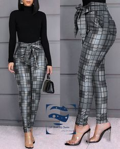 Grid Design Casual Skinny Fit Bow Tied Hight Waist Pants, S Trend Fashion, Fashion Pants, Fashion Dresses, Style Fashion, Sporty Fashion, Mod Fashion, Fashion Ideas, Sequin Pants, Vetement Fashion