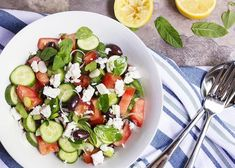 Traditional Greek Chopped Salad - Just a Little Bit of Bacon Tzatziki, Cooking Avocado, Salad Recipes, Healthy Recipes, Feta Salat, Chopped Salad, Greek Salad, Mediterranean Recipes, Greek Recipes