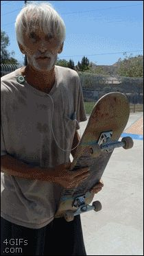 Grandpa Kick flip --  Remember, inside every senior citizen is the same young person, just different skin and hair color.  You might be surprised what seniors are capable of.