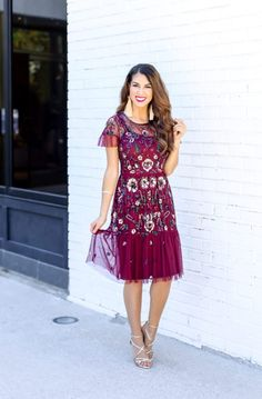 #holidaydress #holidayparty #holidays Gorgeous Floral Sequin Holiday Dress. Christmas Dress. Sparkle Dress for Christmas. Gianni Bini Dress. Burgundy Dress for the Holidays.