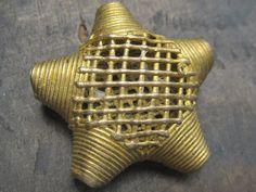 African big star shaped tribal brass bead lost by Ghanatreasures