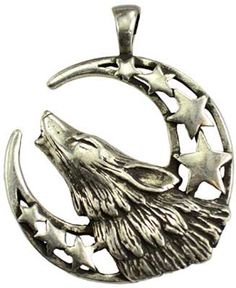 """This pewter amulet showing a crescent moon and stars overlaid with a howling wolf will aid you in calling upon the Moon and Goddess. Has cord. Pewter. 1 1/2"""" x 1 1/4"""""""