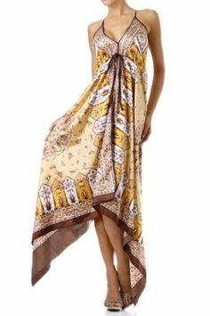 TIE THE KNOT Scarf Hemmed Maxi Sun Dress - Beach CHELSEA S/M, M/-L