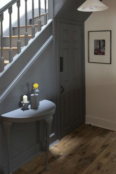 Hallway painted using Little Greene Dark Lead and Linen Wash. Oak treated with Osmo Polyx-oil. Dark Staircase, Tiled Staircase, Painted Staircases, Tiled Hallway, Hallway Flooring, Painted Stairs, Hallway Cupboards, Hallway Paint Colors, Stairs Colours
