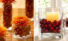 5 Quick & Easy Fall Wedding Centerpieces - My Wedding Reception Ideas Cranberry Centerpiece, Fall Wedding Centerpieces, Thanksgiving Centerpieces, Diy Thanksgiving, November Wedding, Deco Floral, Deco Table, Fall Halloween, Holiday Fun