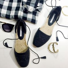 Leather Lace Up Woven Detail D'orsay Espadrilles Size 38 black leather espadrilles with leather ankle ties and geometric woven detail. Brand new in box. 02161605 Cynthia Vincent Shoes Espadrilles