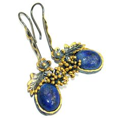 $71.95 Perfect+Blue+Lapis+Lazuli+Rhodium+Gold+plated+over+Sterling+Silver+earrings at www.SilverRushStyle.com #earrings #handmade #jewelry #silver #lapislazuli