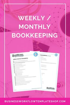 The Weekl / Monthly Bookkeeping template provides all the essential must-do tasks to keep your books running smooth both weekly and monthly. Small Business Bookkeeping, Small Business Accounting, Business Money, Business Tips, Online Business, Business Branding, Accounting Help, Financial Tips, Budgeting