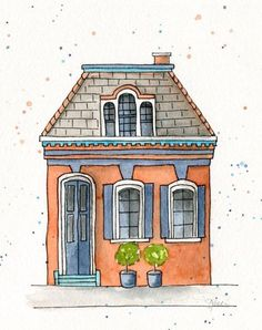 Colorful House Printed Watercolor Greeting Card - New Home - New Apartment - Moving Card - Housewarm Illustration Photo, Building Illustration, House Illustration, Watercolor Illustration, Watercolor Architecture, Watercolor Landscape, Watercolor Paintings, Abstract Watercolor, Simple Watercolor