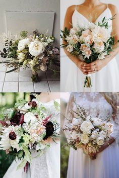 WINTER WEDDING FLOWERS - 20 PRETTY BRIDAL BOUQUETS TO LUST AFTER -- The Blushing Bride From clockwise, from top left: flowers and photo by Lime Tree Bower; flowers by Sara K Byrne and photo by Dylan M Howell; flowers by Sullivan Owen and photo by Emily Wren Weddings; flowers by Wild Lotus Florist and photo by Kieran Moore.