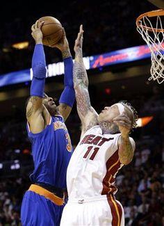 New York Knicks forward Kenyon Martin (3) dunks against Miami Heat forward  Chris Andersen 9fa8eafc1