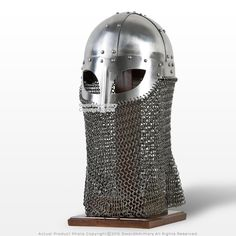 This is a fully functional battle ready Vendel Viking Helmet. This famous helmet has a reinforced steel rim and is made of polished 16 Gauge steel. Camail (curtain of chainmail) is attached to the helmet with staples and leather cords. The helmet comes wi Knights Helmet, Viking Helmet, Tap Shoes, Dance Shoes, Amazon Image, Steel Rims, Medieval Armor, Ultimate Collection, Chain Mail