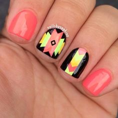 pretty coral aztec design by nailsbysophiaa (she called them neon tribal)