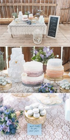 Gorgeous lace table cloth at the dessert table for this #Wedding