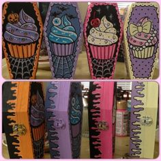 Cupcake Coffin Boxes buy them at: http://spookycrafts.storenvy.com/collections/159247-coffin-boxes