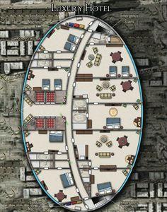 Luxury Hotel; shadowrun floorplan Shadowrun Rpg, Ship Map, Cyberpunk 2020, Building Map, Map Layout, Modern Floor Plans, Fantasy Map, Sci Fi Rpg, Dungeon Maps