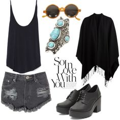 Always black by madalinacorina on Polyvore featuring polyvore fashion style Zara Pieces Glamorous Charlotte Russe