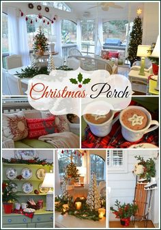 A very sweet and 'Christmasy' screened-in porch from Between Naps on the Porch Christmas Porch blog | #Christmas #decor