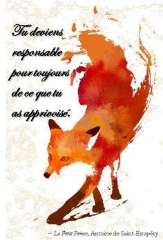 """Tu deviens responsable pour toujours de ce que tu as apprivoisé. ~ """"Le Petit Prince"""", Antoine de Saint-Exupéry"""