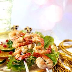 Lime Shrimp - Fresh fruit and shrimp add a burst of freshness to your appetizer buffet. The lime-and-cilantro marinade gives the seafood a flavorful punch.