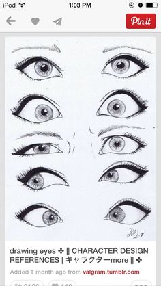 Tutorial of eyes with different emotions