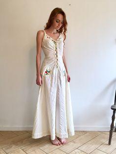 Off White Maxi Hippie Dress / Bohemian Gauzy Cream Goddess Gunne Sax Prairie / 1970's Long Floor Length Solid White Sleeveless Wedding Gown by ShopRachaels on Etsy https://www.etsy.com/listing/487541378/off-white-maxi-hippie-dress-bohemian