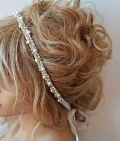 Wedding headband, Rhinestone and Pearl headband, Bridal Headband, Bridal Hair Accessory, Wedding hair Accessory ivory pearls and ribbon Your products