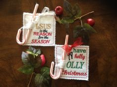 ORNAMENT ~ CANDY CANE Holder,Gift Decoration, Jesus Is The Reason ~ Have A Holly Jolly Christmas ~ Embroidered Felt Ornament ~ Ready To Ship - pinned by pin4etsy.com