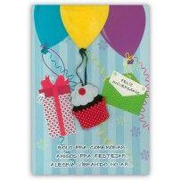 Cartão Aniversário Artesanal G Cupcake balões coloridos