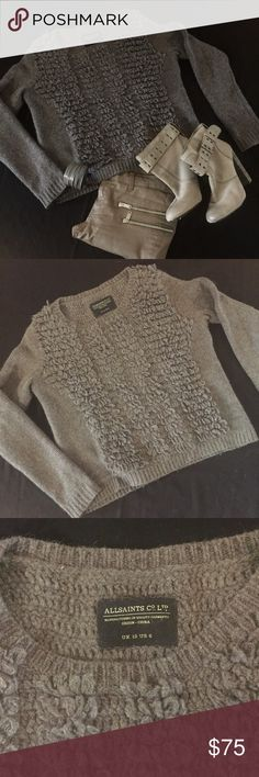 "All Saints Chunky Boxy Textured Sweater Super warm and cozy - worn twice, great condition. Color is a brownish / grey ""mink"" color. Smoke free household ------- chunky heel ankle boots are also for sale! ;) All Saints Sweaters Crew & Scoop Necks"