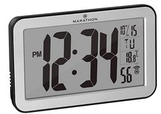 Marathon Commercial Grade Panoramic Autoset Atomic Digital Wall Clock with Table or Desk Stand, Date, and Temperature, 8 Time Zone, Auto DST, Self Setting, Self Adjusting, Batteries Included (Silver) Atomic Wall Clock, Led Wall Clock, Digital Wall, Digital Alarm Clock, 24 Hour Clock, Best Wall Clocks, Daylight Savings Time, Red Led, Diy Wall