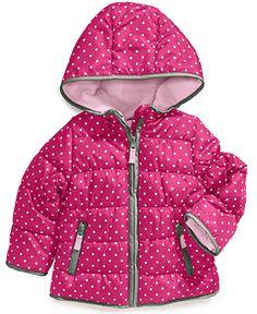 Carter's Kids Coat, Little Girls or Toddler Girls Polka-Dot Bubble Jacket - Kids Toddler Girls (2T-5T) - Macy's