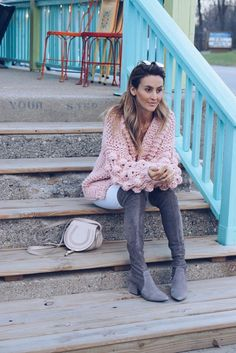 Oversized Sweater + The Best (affordable) OTK Boots | Karina Style Diaries Slouchy Boots, White Denim, Looking Stunning, Skinny Legs, Diaries, Bell Bottom Jeans, Looks Great, Ruffle Blouse, Sweaters