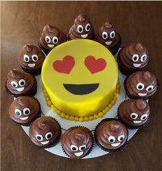 emoji heart eyes cake with poop cupcakes
