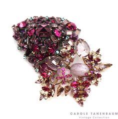 Fabulous pink and purple Schreiner brooch cluster. #vintagecostumejewelry #vintagefashion #schreiner #caroletanenbaum
