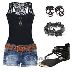 Black tank top, blue jean shorts, sandals and jewelry!!!! Amazing summer outfit