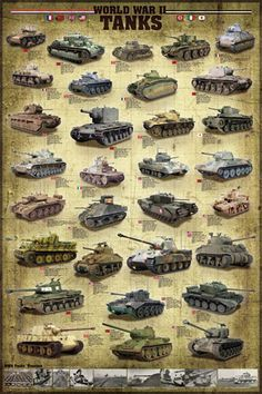 A great poster of the Tanks and armored vehicles used by both the Allies and the Axis Powers during WWII! Perfect for history classrooms. Fully licensed. Ships fast. 24x36 inches. Check out the rest o More