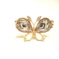 Crystal Rhinestones Pearl Butterfly Ring from LaTor-Gray Designz for $3.99