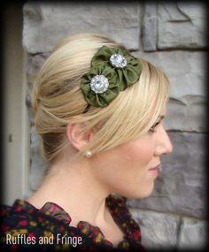 Olive Green Headband Jeweled Double Flower for by RufflesAndFringe, $16.00