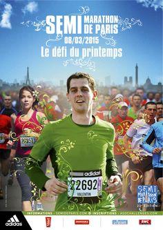 Affiche officielle du semi-marathon de Paris 2015 City Marathon, Running Posters, Sports Marketing, Adidas Boost, Marathon Training, Courses, How To Run Longer, Crossfit, Marathon