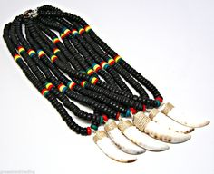"""CLEARANCE 6 Pc Lotx Rasta Surfer 18"""" and 22"""" Necklace Shell Horn Pendant #7003 #GrassShackTrading #Strand"""