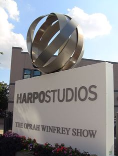 The former sign in front of Oprah Winfrey's Chicago based Harpo Studios
