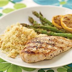 Save three of these grilled chicken breast halves to make our Hearts of Romaine Caesar Salad with Grilled Chicken. Garnish the plate with...