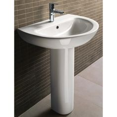 GSI Collection City Modern Curved White Ceramic Pedestal Sink