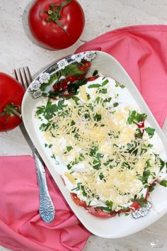 Pomidory w sosie czosnkowym z pietruszką Camembert Cheese, Risotto, Grilling, Food And Drink, Appetizers, Menu, Snacks, Ethnic Recipes, Diet