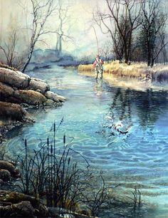 Gatcha! by Hanne Lore Koehler ~ fisherman catching fish in stream ~ watercolor