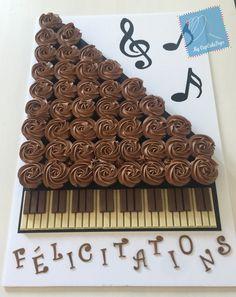 🎼🎶🎵 Piano themed cupcake cake with kitkat Music Themed Cakes, Music Themed Parties, Music Cupcakes, Themed Cupcakes, Piano Cakes, Call Me Cupcake, Pull Apart Cake, Piano Recital, Food Themes