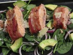 Bacon Wrapped Salmon on Avocado Red Onion Salad (2)